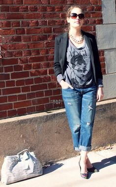 T-shirt, distressed jeans, and blazer