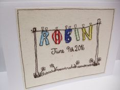 Large Personalised New Baby Card - Machine Embroidered Card - Handmade New Baby… More