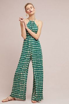 Checked Wide-Leg Jumpsuit