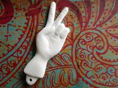 Crazy Big Cartoonish Peace Sign Hand Gesture Carved Bone Pendant Double Sided 60mm $10.00 USD from Indounik on Etsy