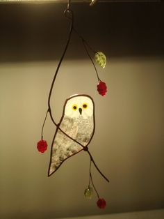 Snowy Owl Stained Glass Suncatcher by BirdsAndBugs1 on Etsy, $25.00