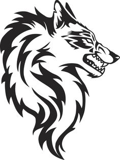 Illustration about Illustration of wolf face black and white tattoo over isolated white background. Illustration of carnivorous, head, face - 58094135 Tribal Animal Tattoos, Tribal Drawings, Tribal Animals, Dark Drawings, Wolf Tattoo Tribal, Cool Tribal Tattoos, Grey Tattoo, Geometric Tattoos, Tattoo Ink