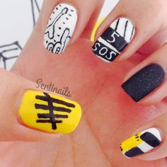 5 seconds of summer logo Easy Nail Polish Designs, Cute Nail Designs, 5 Seconds Of Summer, One Direction Nails, Band Nails, 5sos Nails, Summer Logo, Just Girly Things, Cute Nail Art