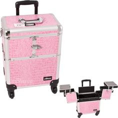 Cro. Pink Pro Spinner Aluminum Rolling Artist Beauty Wheeled Train Makeup Case