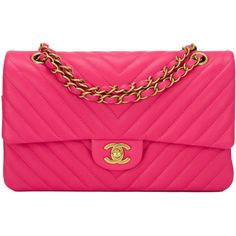 Pre-Owned Chanel Fuchsia Chevron Medium Classic Double Flap Bag ($6,200) ❤ liked on Polyvore featuring bags, handbags, pink, chanel handbags, fuschia handbag, chevron purse, chanel bags and multi colored handbags