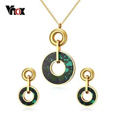 Vnox Turquoise Jewelry Sets for Women  Stainless Steel Colorful Stone Female Party Jewelry Sets