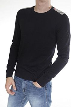 Burberry Men's Round-Necked Sweater Small Blue. Cashmere. Mens.