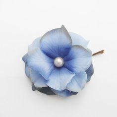 Blue Flower Hair Pin -- Cornflower Blue Hydrangea Flower Hair Clip / Bobby Pin - Wedding Hair Accessory via Etsy