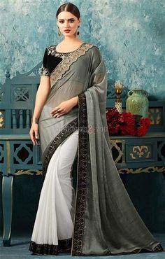 bf863f9e9e5de Cool Silver Grey And White Boutique Style Saree Set With Blackwork