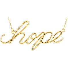 Hope! 14K Yellow Gold and Diamond Pendant #hope #Pendant #BettyWhiteJewelers #Houma