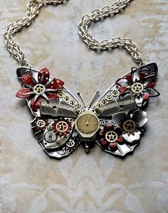 Reserved for Elizabeth - Steampunk Butterfly Necklace - Custom Design Silver Butterfly with Watch Gears Brass Flowers and Jewels. via Etsy. Design Steampunk, Style Steampunk, Gothic Steampunk, Steampunk Clothing, Steampunk Fashion, Gothic Fashion, Butterfly Jewelry, Butterfly Necklace, Butterfly Pendant