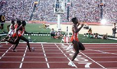 Carl Lewis wins the 100m at the Los Angeles Olympics in 1984. Photograph: BTS/Popperfoto