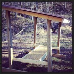 Our new deer trough! Bow Hunting Deer, Quail Hunting, Archery Hunting, Hunting Gear, Homemade Deer Feeders, Deer Feeder Diy, Hunting Stands, Deer Stands, Deer Stand Plans
