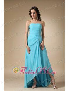 aqua blue ,high-low,chiffon ,strapless,sleeveless,ruffles,floor length ,empire,zipper up,from w w w .fashion o s.com