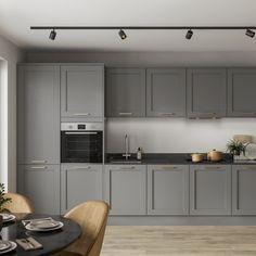 Modern Shaker Kitchen, Modern Grey Kitchen, Grey Kitchen Designs, Contemporary Kitchen Cabinets, Shaker Kitchen Cabinets, Kitchen Cabinet Handles, Grey Kitchens, New Kitchen, Brass Kitchen