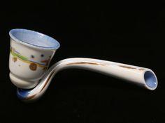 Contemporary glass pipe form vessel.