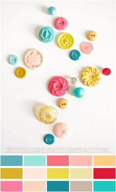 Colors: teal, yellow, pink (more of a coral)
