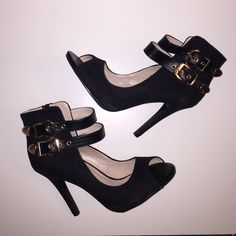 AKIRA suede black gold heels size 7 Akira Chicago zip up heels in size 7.  Suede material. Worn only once. No trades please! AKIRA Shoes Heels