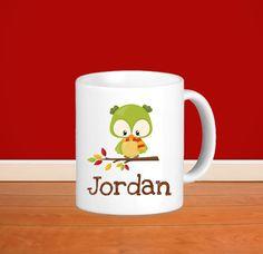 83b0c04a93f Fall Animal Kids Personalized Mug - Woodland Fall Animal with Name, Child  Personalized Ceramic or Poly Mug Gift