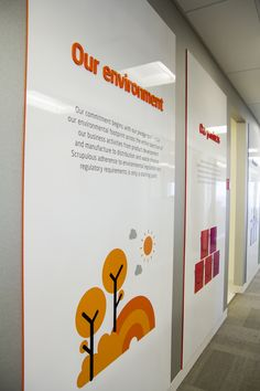 Acrylic mounted panels for messaging around the office space