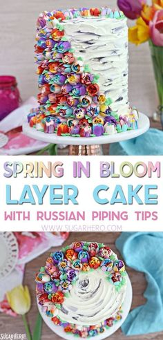 Spring In Bloom Layer Cake - an extra-tall cake COVERED in gorgeous buttercream flowers! | From SugarHero.com #SugarHero #Spring #dessert #cake