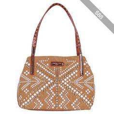 e58577a8ee Women's Nicole Lee Jolene Geometric Studwork Shopper Bag - Brown Casual  Handbags Nicole Lee Handbags,