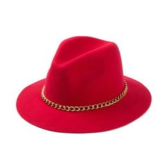 Women 100% Wool Black / Burgundy / or Red Fedora With Gold Chain