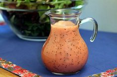 Raspberry Poppy Seed Salad Dressing  OMG - so good! Recipe calls for a lot of sugar.  I made it the first time with the sugar, and the 2nd time, I used honey to taste, and thought it was better, as it was thicker & I did not have to use as much dressing to cover the salad.  Great spring recipe for spinach & strawberry salads.  5 Star Rating!