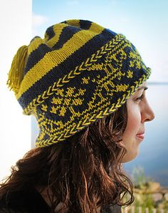 Fair Isle colorwork hat pattern by Tanis Gray hand knit in 100% cashmere yarn.