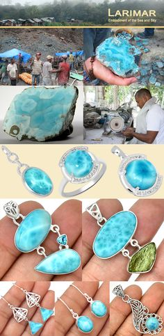 Larimar is also called Stefilia stone, a rear blue variety of gemstone found only in the Dominican Republic. The color consists of a large gradient pattern from white, light-blue, green-blue, to deep blue.