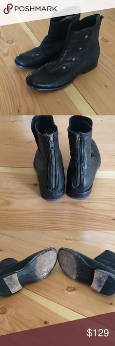 Frye W 10 black leather boots These leather boots are awesome. AWESOME. Typical Frye comfort and quality. The buttons on the sides do open, allowing you mess with the look of the boot. I usually just unzip the back to put them on, though, and leave the buttons together. As you can see from the soles, these have been worn with love <3 They have lots more miles left in em! Frye Shoes Ankle Boots & Booties