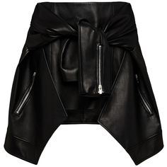 Magda Butrym     Leather Tied Jacket Mini Skirt ($2,855) ❤ liked on Polyvore featuring skirts, mini skirts, bottoms, magda butrym, saias, black, tie-dye skirt, leather miniskirt, short mini skirts and short skirts