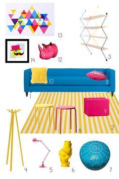 A Happy Modern Living Room in CMYK Dream Living Room Inspiration