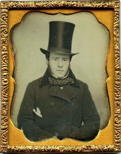 Man with Stove Pipe hat. american daguerrotype