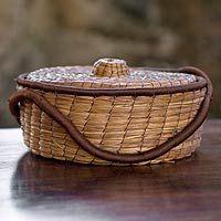handwoven pine needle basket