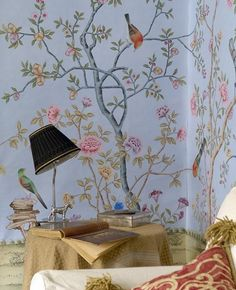 Hand-painted silk wallpaper european style painting flower with birds HAND PAINTED WALL PAPER many pictures/backgrounds optional Handmade Wallpaper, Silk Wallpaper, Cheap Wallpaper, Chinoiserie Wallpaper, Chinoiserie Chic, Pattern Wallpaper, Bedroom Wallpaper, Wallpaper Samples, Hand Painted Walls