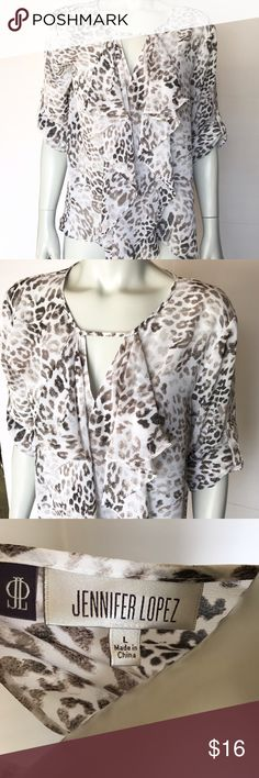 • Jennifer Lopez • white & brown animal print top Gorgeous blouse with brown leopard spotted pattern. Nice ruffles on the front. Pretty layering shirt! Brand new with tags. Jennifer Lopez Tops Blouses