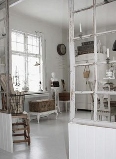 Oh so love this old windows used as room dividers