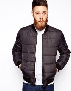 ASOS Quilted Down Fill Bomber Jacket