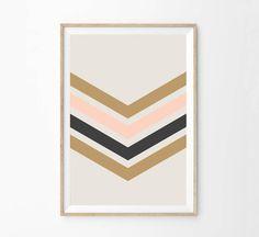 Cadeau d'anniversaire pour adolescent - idée cadeau - Home Decor mural Art Print - Chevron Color block Stripes - crème or Charcoal Rose - Art de cuisine