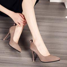 Pointed Toe Flock Pumps Women Stiletto High Heels Shoes 5000 #highheelsstilettos