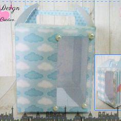 Anna Design - Caixinha maleta com visor chuva de amor & bênção menino 01 - em scrap