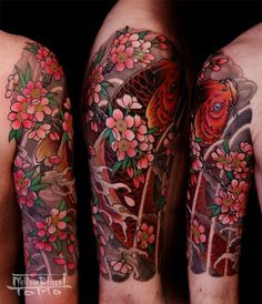cherry blossom/coy fish -Coy fish means to overcome, which is something i would love to have on my body