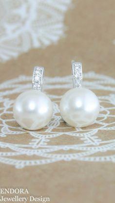 White Pearl Earrings Bridal Bridesmaid Swarovski 10mm