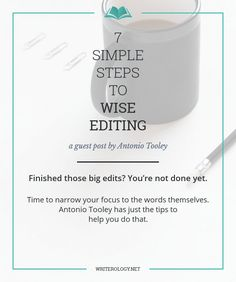 Are you trapped in the bog that is editing? I've been there too. Once those big edits are complete, it's time to narrow your focus to the words themselves and my guest today, Antonio Tooley, has just the tips to help you do that. | Writerology.net