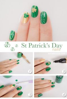 St Patty's day nails! Also great for Notre Dame football.
