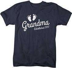 Shirts By Sarah Women's Grandma Established 2017 Unisex T-Shirt Baby Feet Cute Shirts