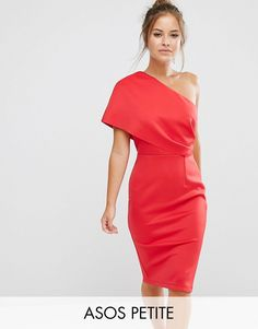 ASOS PETITE One Shoulder Scuba Deep Fold Midi Dress with Exposed Zip - by: ASOS Petite