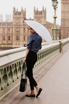 Parisian Chic Street Style - Dress Like A French Woman (37) button down, black skinny slacks, black flats, black purse More