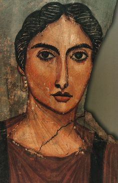Egypt - Portrait of a Female Figure - Roman period (4th century AD). Tempera on wood.  In the Egyptian Museum, Cairo